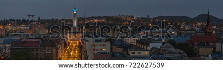 Extra wide night panorama of Silesian Ostrava with new city hall, evangelic curch and  Michalkovice hill, Czech Republic