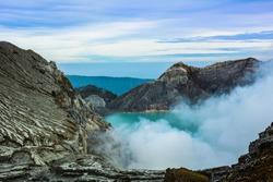 Extracting sulphur inside Kawah Ijen crater, Indonesia