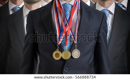 Extraordinary successful employee was awarded for his excellent skills.