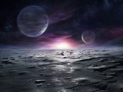 Extraterrestrial landscape of distant icy planet with nebulae and two large moons on its sky
