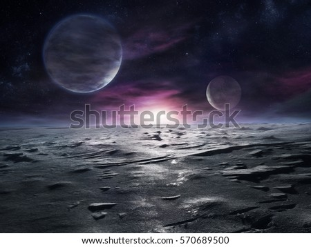 Stock Photo Extraterrestrial landscape of distant icy planet with nebulae and two large moons on its sky