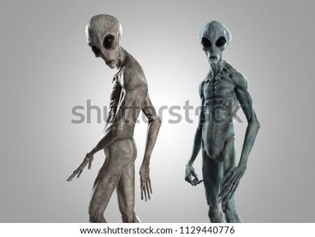 extraterrestrial life or alien - 3d rendering