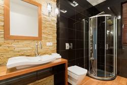 Extravagant decor of new bathroom with black tiles