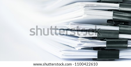 extreamely close up a  report paper stacking of office working document  #1100422610