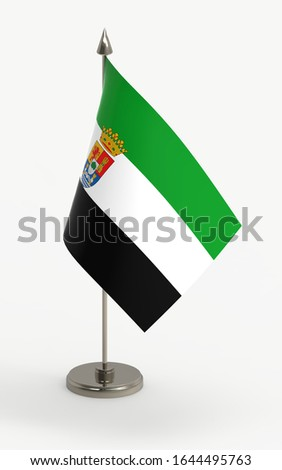 Extremadura table flag on a white background. Extremadura, autonomous community of Spain, 3d render.