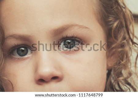 Extreme close up beautiful blue eyes toddler girl portrait - Child face extreme close up with copy space - Little girls eyes health concept background - Children eyesight health and care