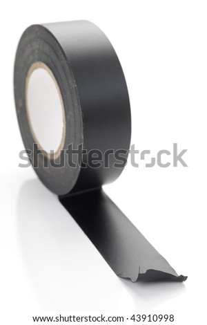 Extreme close-up image of a roll of electrical tape on white