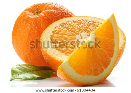 Extreme close-up image of an orange