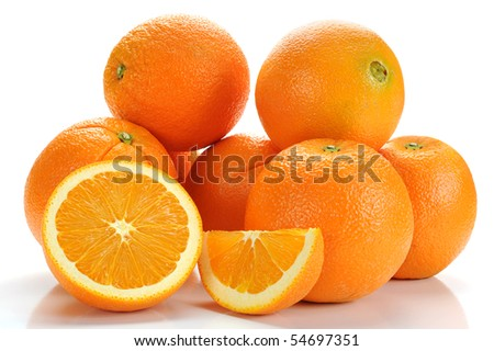 Extreme close-up image of an oranges studio isolated on white background