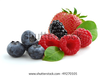 Extreme close-up image of berries studio isolated on white background