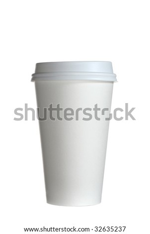 Extreme close-up image of coffee cup studio isolated on white background