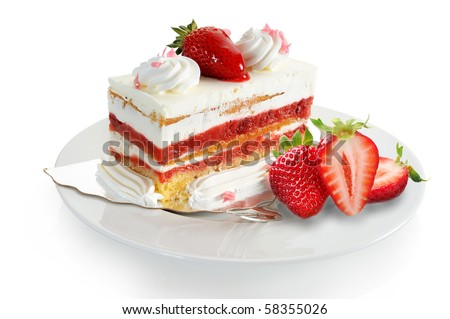Extreme close-up image of delicious strawberry cake