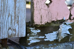 Extreme close up of a two toned color fence of an abandoned home.  The colors are baby blue and baby pink, and the paint is peeling to expose slimy, grungy wood.  Image has alot of rough texture
