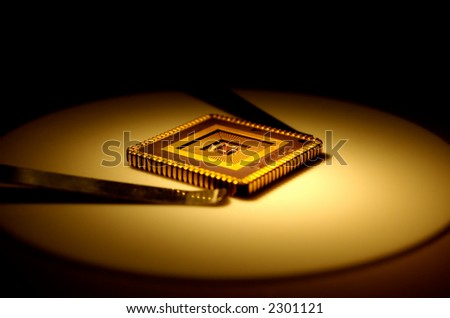 Extreme close-up of computer micro chip .