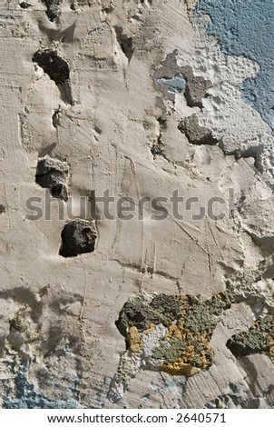 extreme close up of dry cement texture in clear blue color wall - stock photo