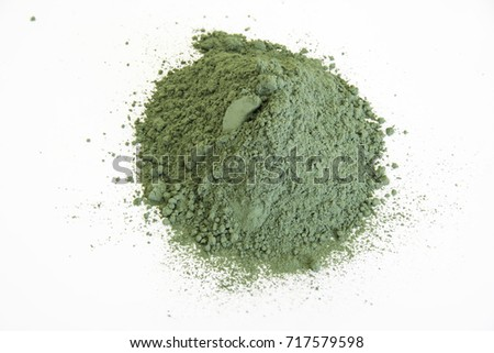 Shutterstock extreme close up of pigment green ground from vagone isolated over white background