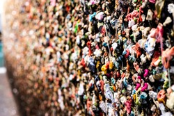 Extreme close up of Seattle Washington's famous multicolored chewing gum wall, like a wallpaper, abstract colorful street art, photography effect and focus effect