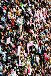 Extreme close up of Seattle Washington's famous multicolored chewing gum wall, like a wallpaper portrait, street art, photography effect and focus effect