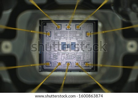 Extreme close up of silicon micro chip.