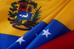 Extreme close up of wavy Venezuelan flag