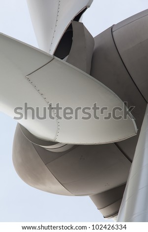 Extreme close up of wind turbine