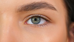 Extreme close up of Woman opening beautiful eye with grey iris. Attractive girl, a young female model with natural make-up and long eyelashes looking at camera.