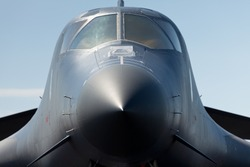 Extreme close up view of an American B-1 Lancer Long Range Bomber.