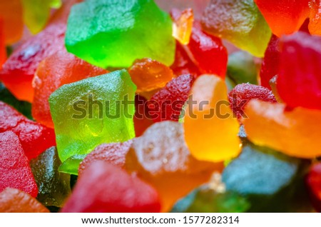 Extreme Closeup of a bunch of candied fruits or tutti frutti with selective focus Foto d'archivio ©