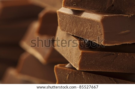 extreme closeup of a chocolate pieces tower
