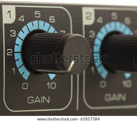 extreme closeup of a gain volume fader