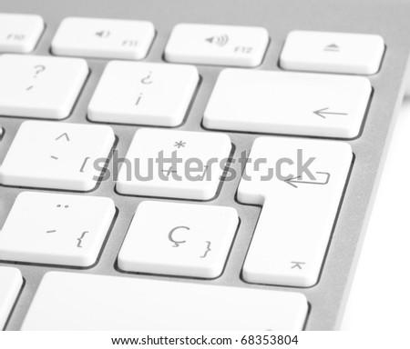 extreme closeup of a modern silver keyboard #68353804