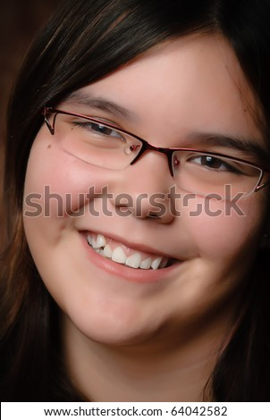 Extreme closeup of a smiling