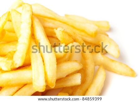 extreme closeup of fried potatoes on white background