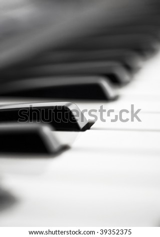 Extreme closeup of Piano keyboard (shallow DOF)