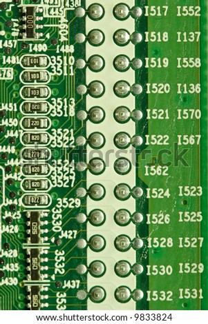 Extreme closeup of printed circuit board