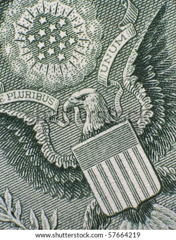 Extreme closeup of the eagle on the one dollar bill