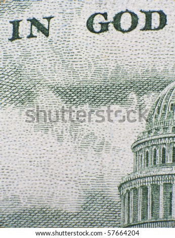 """Extreme closeup of the fifty dollar note """"In God"""""""
