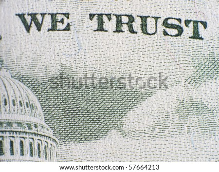 "Extreme closeup of the fifty dollar note ""We Trust"""