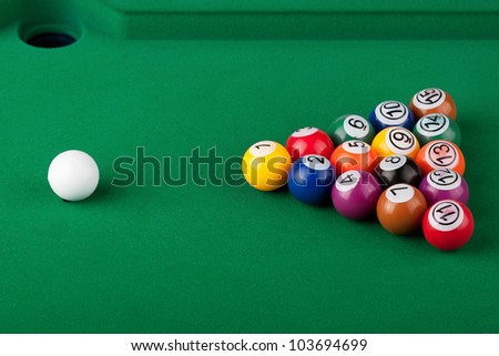 Extreme closeup Pool Balls on a green table