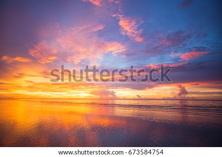 extreme color of sunset at one of the beach of north Borneo #673584754