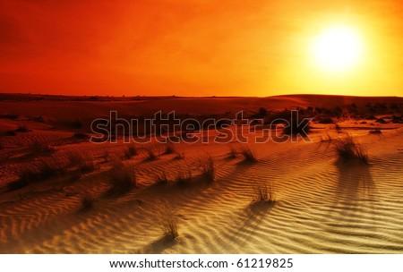 Extreme desert landscape with orange sunset