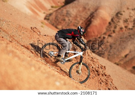 Extreme downhill in red canyon