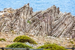 Extreme geological folds , anticlines and synclines, in Crete, Greece taken on 8 May 2016
