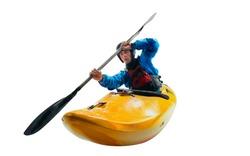 Extreme kayaking isolated on white