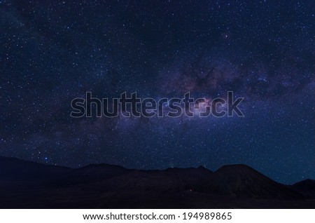 Extreme long exposure image showing milky way above the Bromo Volcano, Indonesia