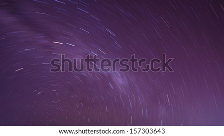 Extreme long exposure image showing star trails above the Bromo Volcano, Indonesia