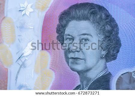 Extreme macro detail of 5 dollar Australian banknotes - australian five dollars note Elizabeth II portrait