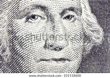 Extreme Macro of George Washington on the US Dollar Bill.