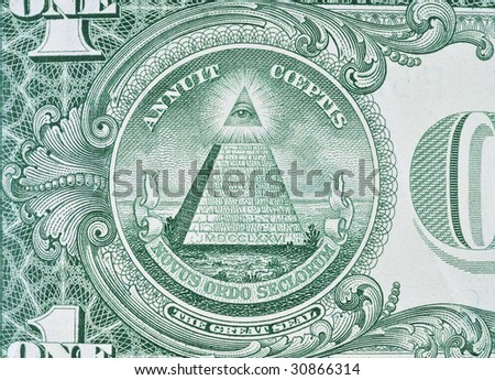 Extreme macro shot of a one dollar bill.