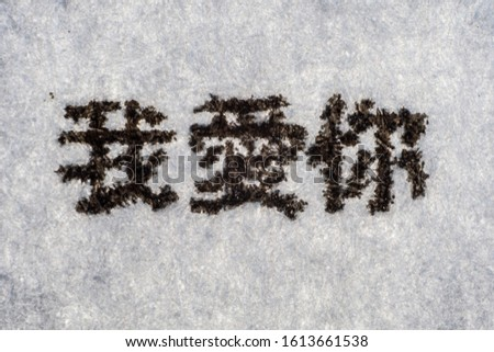 Extreme macro shot of the I LOVE YOU in Chinese typed on white paper. Grungy textured bloody mood.. Calligraphy.